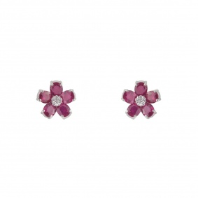 18k White Gold Diamond and Ruby Stud Earrings